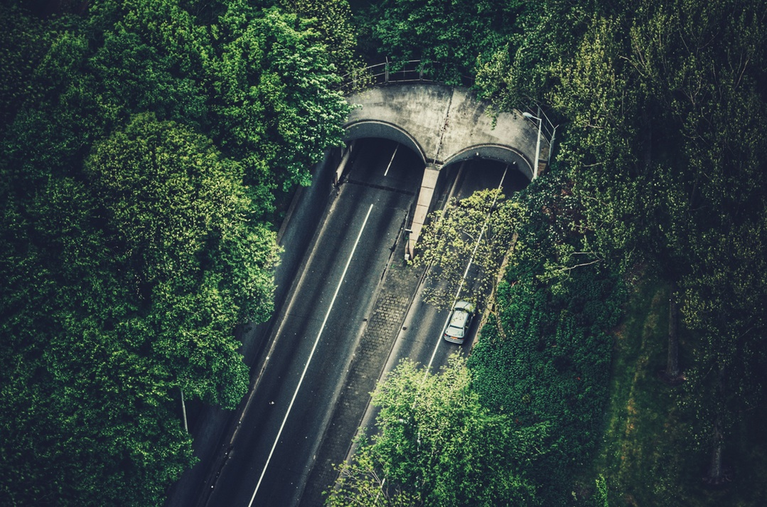 Birds eye view of tunnel